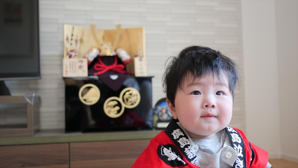 写真:5月人形と圭佑 様